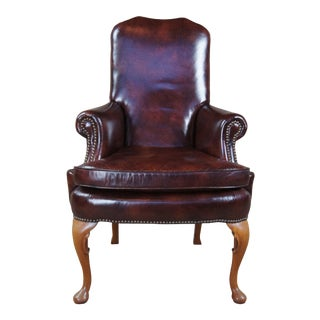 1980s Classic Leather Mahogany Queen Anne Nailhead Accent Arm Chair Club Desk Library For Sale