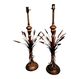 1970s Hollywood Regency Frederick Cooper Gold Sheaf of Wheat Table Lamps - a Pair
