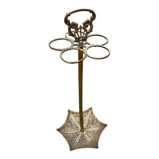 Mid-Century Modern Brass Umbrella Stand/Pool Cue Holder For Sale