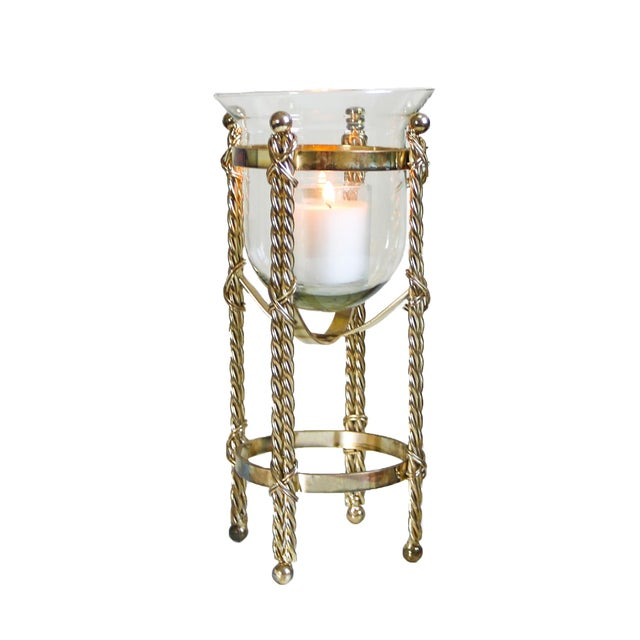 Mid-Century Tall Brass & Glass Candleholder For Sale - Image 13 of 13