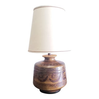 Large Ceramic Brown Table Lamp with Shade For Sale