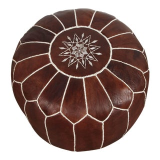 Moroccan Brown Leather Pouf For Sale