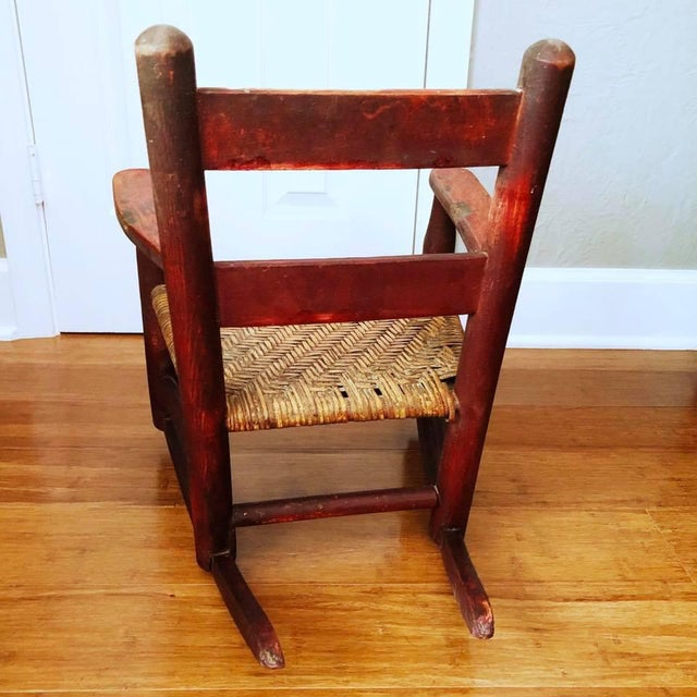Children's Antique Handmade Children's Red Rocking Chair With Wicker Seat For Sale - Image 3 of 9