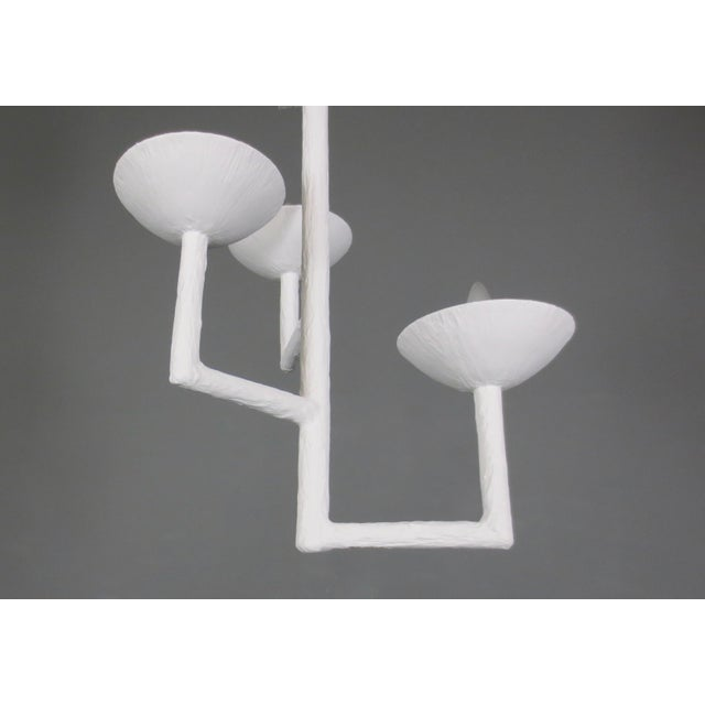 Contemporary 3 Cup Plaster Chandelier With White Finish For Sale - Image 3 of 9