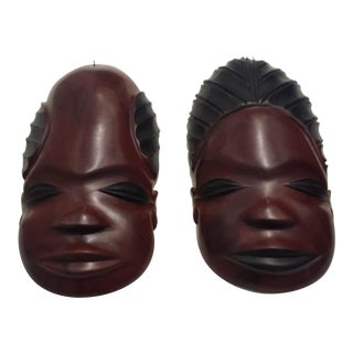Vintage Carved Masks of Man and Woman - a Pair For Sale