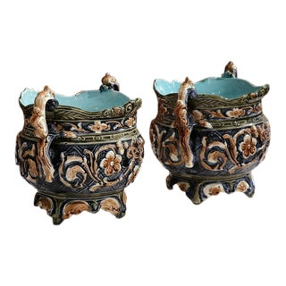 19th Century French Hand-Painted Barbotine Cachepots - A Pair