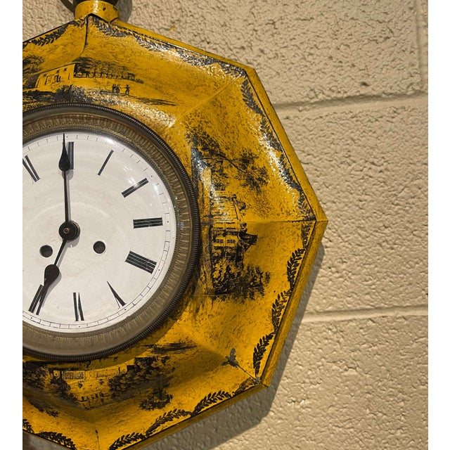 Late 19th Century 19th Century, French Napoleon III Painted Tole Wall Clock For Sale - Image 5 of 12