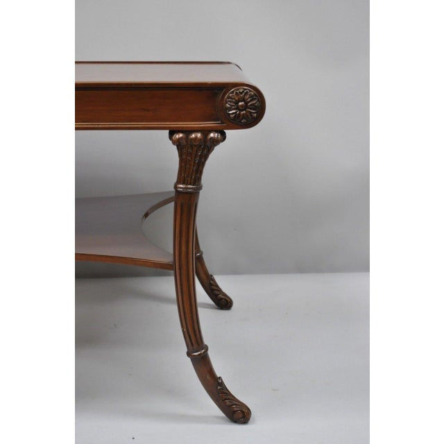 French Nancy Corzine French Regency Style Mahogany Saber Leg Coffee Cocktail Table For Sale - Image 3 of 10