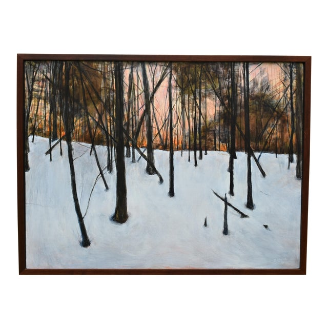 """Titled """"Sunrise in the Snowy Woods"""". The painting lent itself to an almost primitive/""""folky"""" style. This was painted in..."""