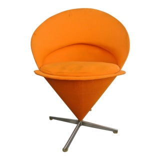1950s Mid Century Modern Verner Panton Orange Cone Chair