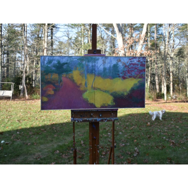 "Abstract ""Turning"" Trail in Autumn Acrylic Painting by Stephen Remick For Sale - Image 3 of 13"