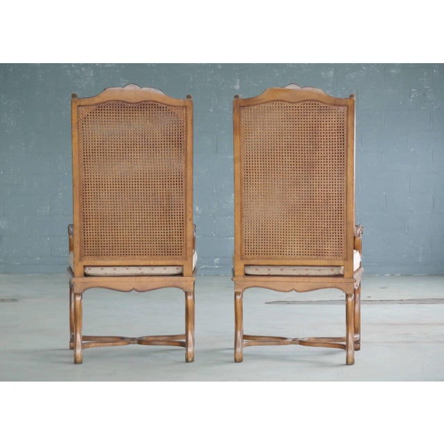Wood Pair of 1920s Hollywood Regency Cane Wingback Chairs For Sale - Image 7 of 10