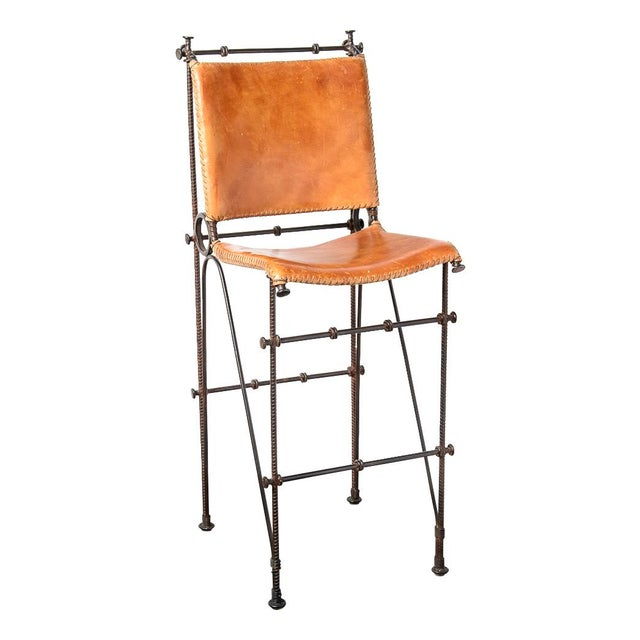 Vintage Leather & Wrought Iron Bar Stool, Arte De Mexico - Image 2 of 12
