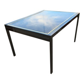 Milo Baughman Style Chrome Extendable Frame Smoked Glass Dining Table For Sale