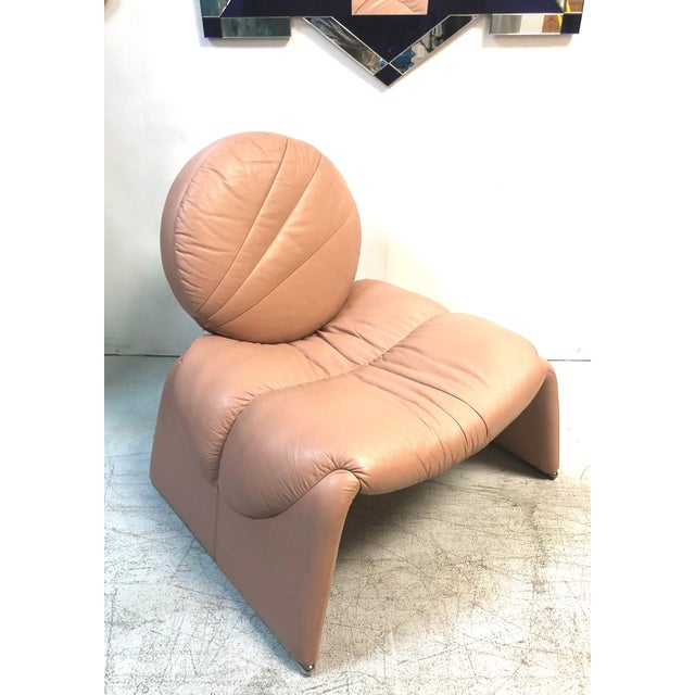 Postmodern Pink Leather Lounge Chair, 1980s For Sale - Image 4 of 8