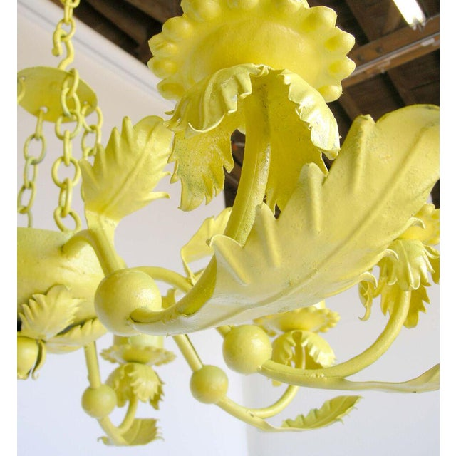 Painted Yellow Hand Wrought iron Leaf Chandelier For Sale - Image 4 of 7
