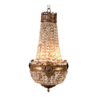 Circa 1910 French Empire Style Bronze & Crystal Chandelier For Sale