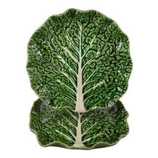 Bordallo Pinheiro Portuguese Green Cabbage Plates, S/2 For Sale