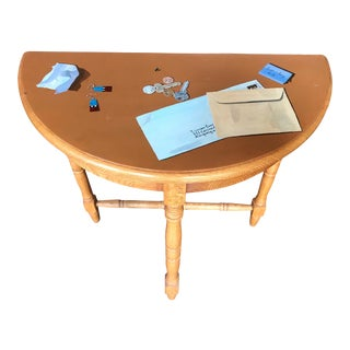 Trompe l'Oeil Painted Wooden Half Table For Sale