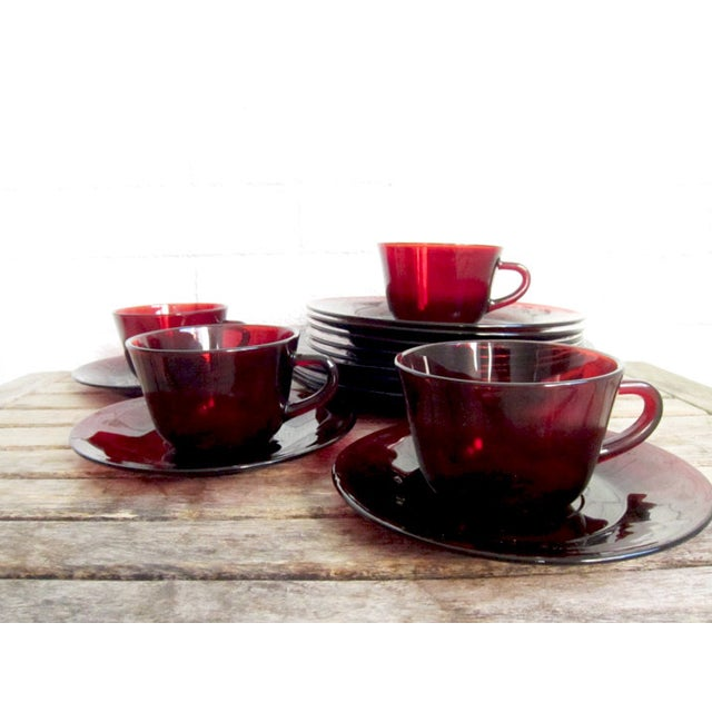 Vintage Ruby Red Glass Tea Cups & Plates - 16 Pcs - Image 4 of 6