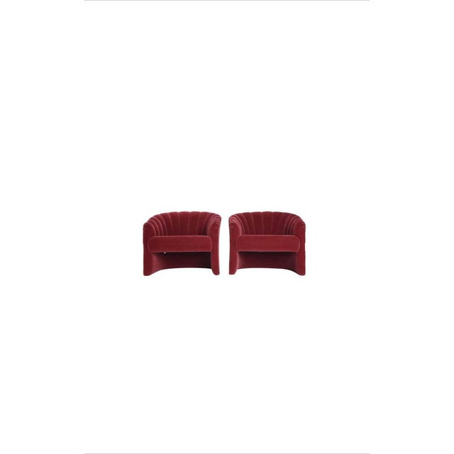 Red Mohair Barrel Back Lounge Chairs, 1970 - a Pair For Sale - Image 4 of 9