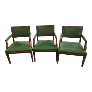 1960's Mid-Century Modern Paoli Green Leather Studded Chairs - Set of 3