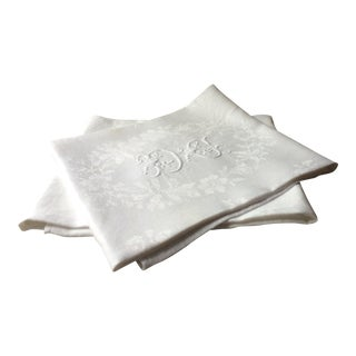 French Antique Linen Napkins - a Pair For Sale
