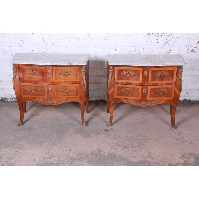 Louis XV Style Inlaid Mahogany Marble Top Nightstands or Commodes, Pair For Sale - Image 13 of 13