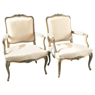 Louis XVI Carved Wood French Armchairs - a Pair For Sale