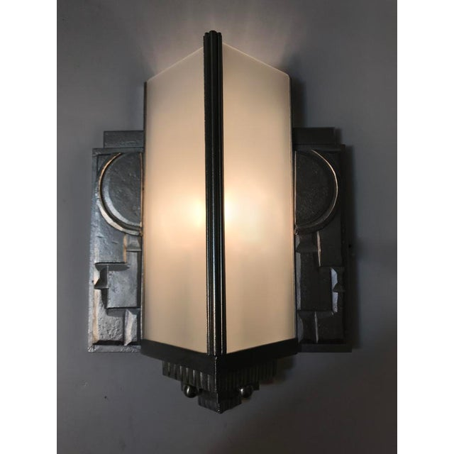 Distinguished Geometric French Art Deco Wall Sconces - A Pair | DECASO