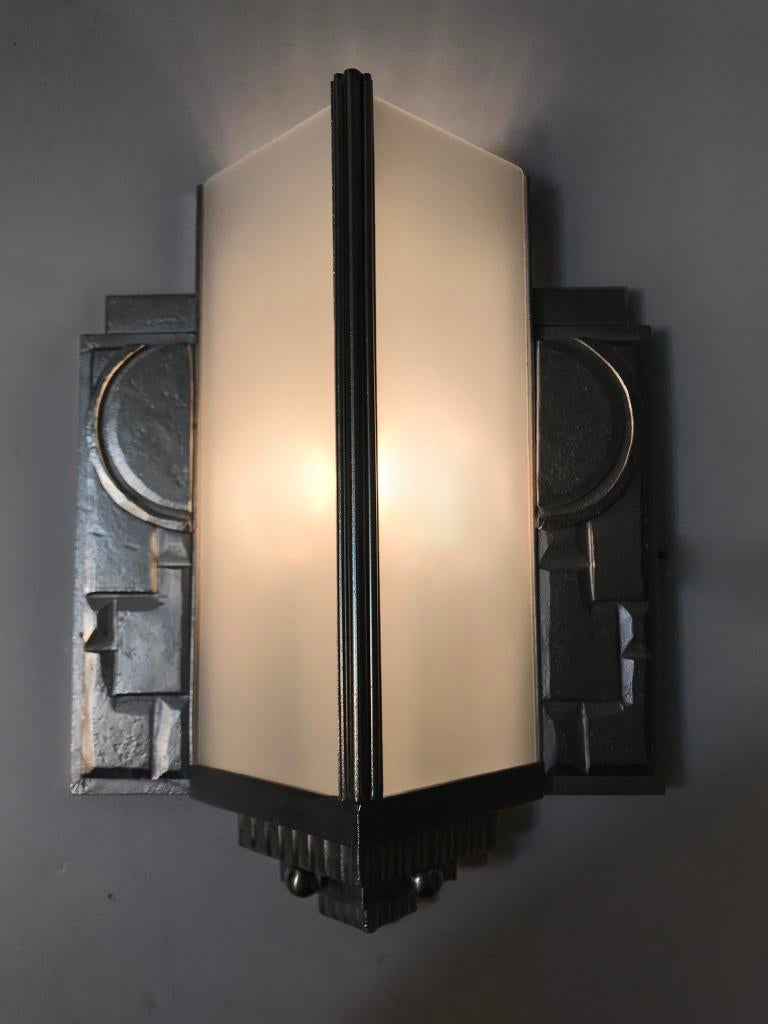 Pair Of Geometric French Art Deco Wall Sconces   Image 10 Of 11