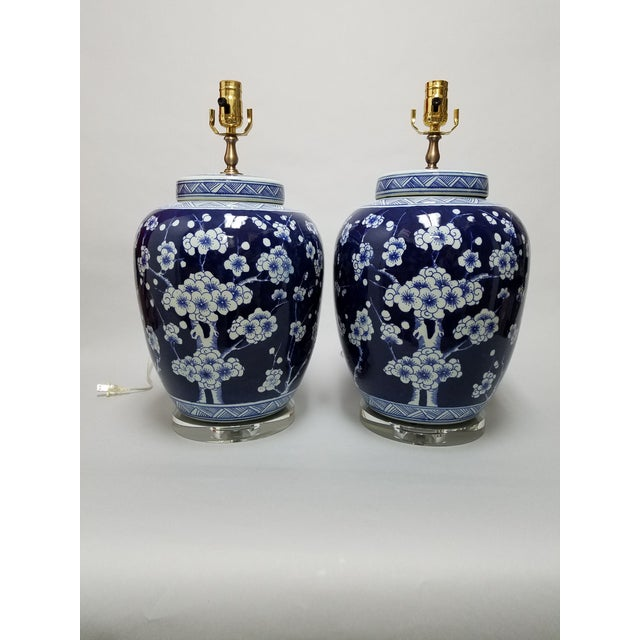 Blue Chinese Blue & White Hawthorne Blue Porcelain Table Lamps - a Pair For Sale - Image 8 of 8