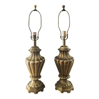 Vintage Italian Ethan Allen Solid Brass Lamps a Pair For Sale