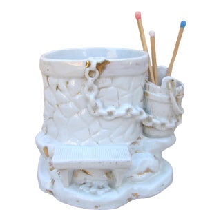 Porcelain Wishing Well Humidor / Match Striker For Sale