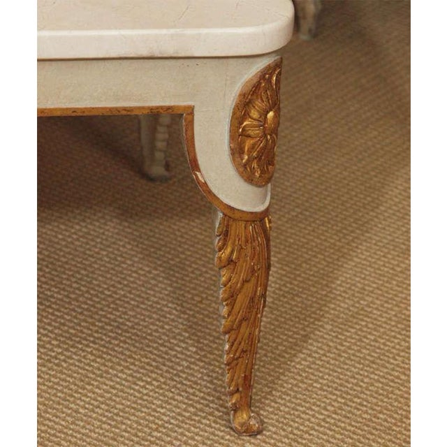 Early 20th Century Regency Style Coffee Table With White Marble Top For Sale - Image 5 of 8