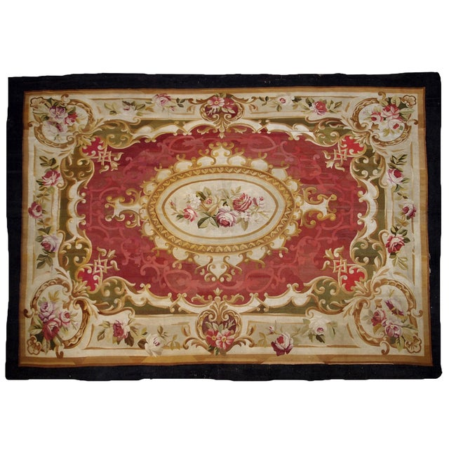 1860s, Handmade Antique French Abussan Flat-Weave For Sale - Image 11 of 12