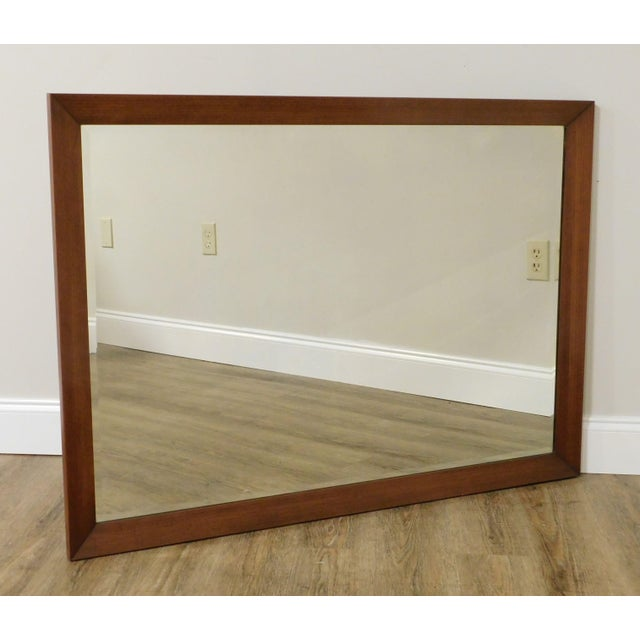 Mid-Century Modern Mid Century Vintage Walnut Frame Beveled Wall Mirror For Sale - Image 3 of 13