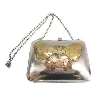 Sterling Silver French Ladies Vintage Art Nouveau Handbag Purse For Sale