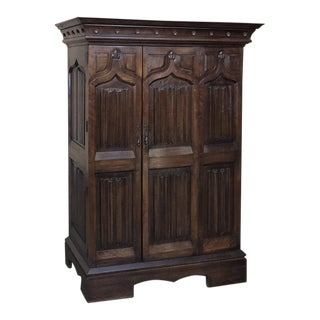 19th Century French Gothic Solid Walnut Armoire ~ Bonnetiere For Sale