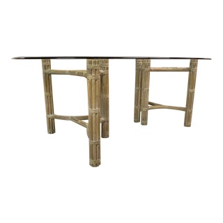 McGuire Double Pedestal Rattan Dining Table For Sale