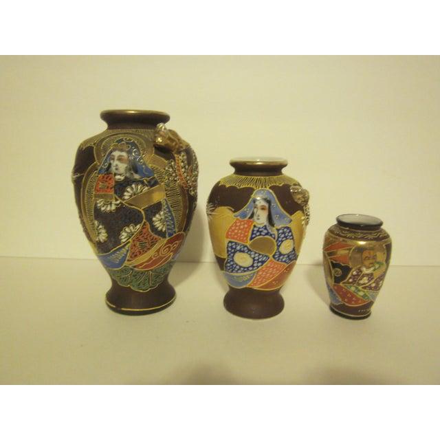 Vintage Japanese Satsuma Vases - Set of Three - Image 3 of 11