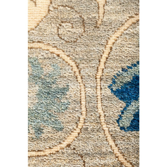 """Islamic Persian Suzani Style Blue Hand-Knotted Wool Rug- 5' 3"""" X 7' 9"""" For Sale - Image 3 of 4"""