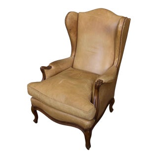 1940s Louis XV Style Leather Wingback Armchair For Sale