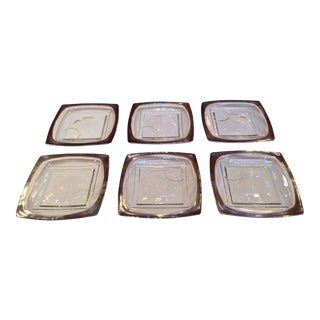 Vintage Mid-Century Dorothy Thorpe Hors d'Oeuvre Appetizer Plates - Set of 6 For Sale