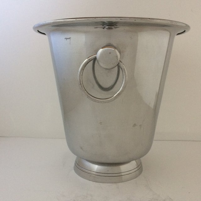 Traditional Vintage Polished Aluminum Drop Bail Knob Handled Ice Bucket For Sale - Image 3 of 9