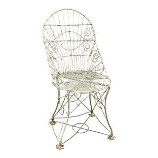 Antique Victorian Steel Wire Garden Chair For Sale
