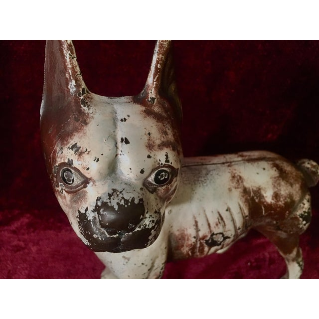Brown 1930s Hubley Boston Terrier Dog Cast Iron Doorstops - a Pair For Sale - Image 8 of 13