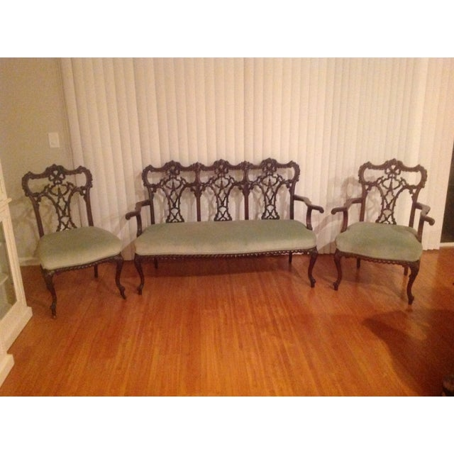 Chippendale Settee and King and Queen Chairs - Set of 3 - Image 10 of 11