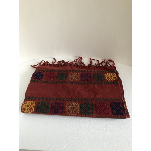 Boho Embroidered Table Runner With Fringe For Sale In Los Angeles - Image 6 of 8