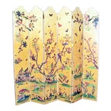 Image of 1950s Vintage Birds Foliage Six Pannel Screen For Sale